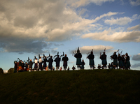 The Massed Bands rehearsing on the hill