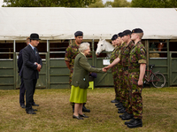 The Queen visiting The Household Cavalry at the stables